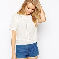 ASOS Lace Insert and Embroidered Vintage Tee