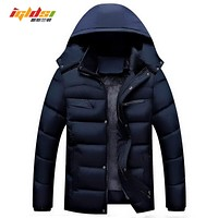 New 2017 Men's Casual Parkas Solid Fleece Winter Jacket Men Hooded Thick Warn Padded Overcoat mens winter down jackets and coats