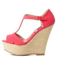 T-Strap Woven Platform Wedges by Charlotte Russe - Fuchsia