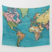 Vintage Map of The World (1897) Wall Tapestry by BravuraMedia
