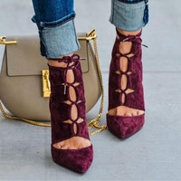 Fashion Wine Red Suede Lace Up Women Ankle Boots Pointed Toe Ankle Booties High Heel Strappy Sandals Women Pumps Botines Mujer