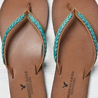 AEO Women's Braided Leather Flip Flop (Turquoise)