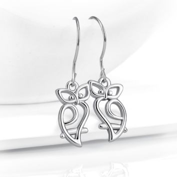 Cute Owl Sterling Silver Earrings