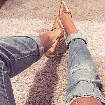 Chassidy Gold Leather Pumps