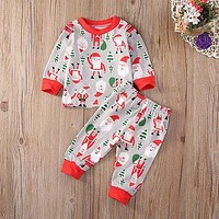 New arrival girl & boys clothes set Christmas Toddler Kids Baby Girl Boy Santa Pajamas Sleepwear Nightwear Clothes