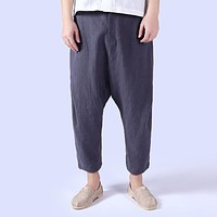 5 Colors Men Chinese Style Loose Casual Harem Pants High Quality Cotton Linen Cross Pant Male Solid Color Ankle Length Trousers