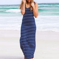 Striped Print Racer Back Sleeveless A-Line Maxi Dress
