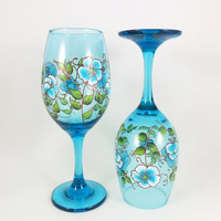 Cobalt Blue Copper Wine Glasses Hand Painted Set of 2