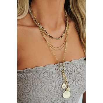 Queen Energy Layered Necklace (Antique Gold)