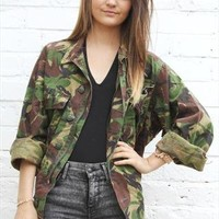 Vintage Khaki Green Grunge Camo Army Shirt Jacket Over Sized from Boutique 73