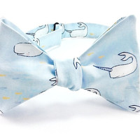 Narwhal Light Blue Men's  Freestyle/  Self Tie / Hand Tie Bow Tie