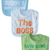 Gerber Baby-Boys Newborn 3 Pack Terry Bibs with Sayings - Boy, Blue, One Size