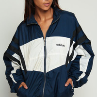 Adidas Jacket 90s Windbreaker Jacket Stripe Shell Jacket Navy Blue Sports Color Block Hipster Vintage 1990s White Sporty Extra Large xl