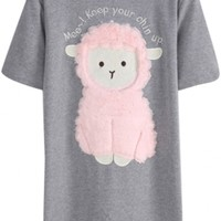 Cute 3D Sheep Embroidered Short Sleeve T-Shirt - Beautifulhalo.com