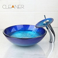 Modern Round Bathroom Glass Vessel Sink & Chrome Waterfall Faucet Combo
