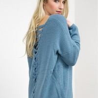 Cozy Lace Up Knit Sweater | Sky Blue