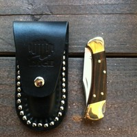 Dice Magazine Buck Knife with Leather Sheath Garage Knives at Broken Cherry