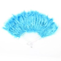 uxcell Folding Hollow Plastic Feather Dancing Hand Fan White Cyan Blue