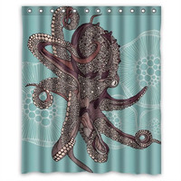 60 X 72 Inch Water Proof Polyester Octopus Shower Curtain