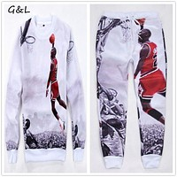 2016 M-3XL 4XL Plus size New Full Sleeve men print hip hop jordan 23# Hoodies sweatshirts/emoji joggers pants/tracksuit
