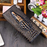 100% Genuine cow leather brand women wallets 14 colors Crocodile 3D purse fashion leather clutch wallets coin purse bag