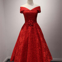 Fashion Red Off Shoulder Cocktail Prom Dresses 2016 Sexy V-Neck Short Lace Pageant Dress Formal Gown With Beaded Flower Waist