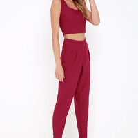 Paired Off Wine Red Two-Piece Set