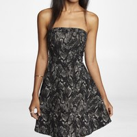 STRAPLESS SNAKESKIN PRINT FIT AND FLARE DRESS