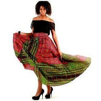 DREAMY Red African Print Maxi Skirt