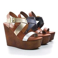 Woobery08 By Bamboo, Multi Strappy Faux Wooden Platform High Wedge Heels, Women Shoe