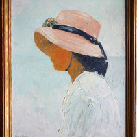 Girl in Bonnet, Vintage Oil Painting by Mary Jenques Coulter, 1918 Beach Day, Young Woman in Straw Hat, Original Signed Fine Art