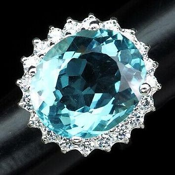 Vintage Natural 14.5CT Oval Cut Blue Aquamarine & White Sapphire Halo Ring