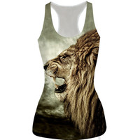 Womens Lion Slim Tank Top Sports Vest for Summer Free Shipping