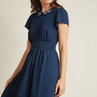 Feminine Shirt Dress with Embroidered Collar