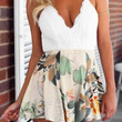 Lace Floral Cross Strap Pleated Romper