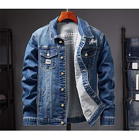 Mens Denim Jacket Spring Fashion Men Trendy Ripped Denim Jacket Mens Outwear Jeans Jacket Male Cowboy Coats Clothing