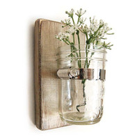 Wall sconce wood vase mason jar Metallic Taupe by OldNewAgain