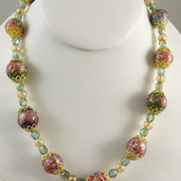 Venetian Wedding Cake Necklace with multi-colored beads