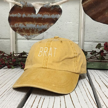 Vintage BRAT Baseball Cap Low Profile Dad Hats Baseball Hat Embroidery Burnt Yellow