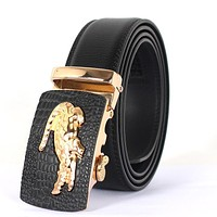 Designer belts men high quality cowhide genuine leather belt crocodile logo men belts luxury male strap