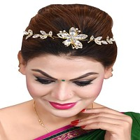 Gold Toned Embellished Head Chain For Women