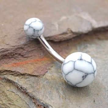 White Turquoise Belly Button Ring