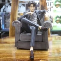 Cool Attack on Titan Anime  Action Figure Levi Ackerman Sofa Model Dolls Decoration Pvc Collection Figurine Toys for Gifts 16cm AT_90_11