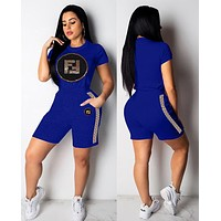 FENDI Summer Fashion Women Casual Sequins Print Short Sleeve Top Shorts Two-Piece Set Sportswear Blue