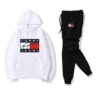 Tommy Jeans Women Men Fashion Casual Letter Pattern Print Long Sleeve Trousers Set Two-Piece Sportswear white/black