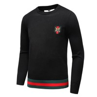 GUCCI 2018 new tiger head embroidery sweater round neck badge sweater black