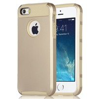 iPhone 5S Case, iPhone 5 Case, ULAK Slim Fit Protection Case Shockproof Hard Rugged Ultra Protective Back Rubber Cover with Dual Layer Impact Protection (Gold/Gold)