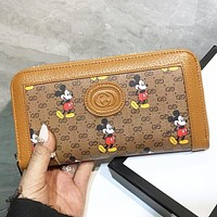 GUCCI & Disney New fashion more letter mouse print leather wallet purse handbag Brown