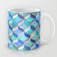Patchwork Ribbon Ogee Pattern in Blues & Greens Mug by Micklyn