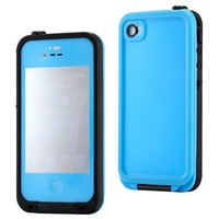GEARONIC Sky Blue Waterproof Shockproof Full Body Skin Case Cover Pouch for iPhone 4 4S 4G, Multi Purpose Protective Skin for water, shock, snow, dirt